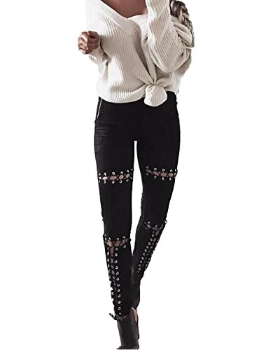 Auxo Mezclilla Jeans Cintura Alta Pantalones Rotos Vaqueros Largos de Lápiz para Mujer Negro