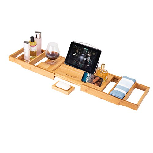Frond Bamboo Bathtub Caddy Tray, Luxury Wood Bath Rack with Extendable Sides for Book, iPad, Kindle, Phone Wineglass Tablet Holder – Burlywood