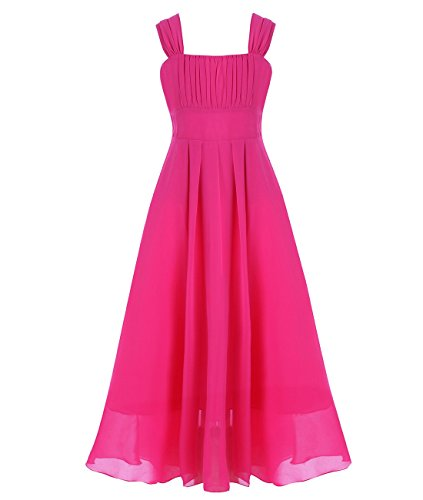 iiniim Big Girls Chiffon Pageant Graduation Bridesmaid Dress Junior Wedding Gown Rose 12