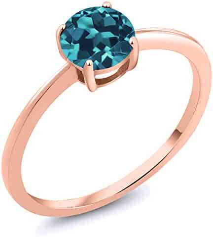 fccb02fff Gem Stone King 10K Rose Gold 0.75 Ct Round London Blue Topaz Women's  Solitaire Ring (