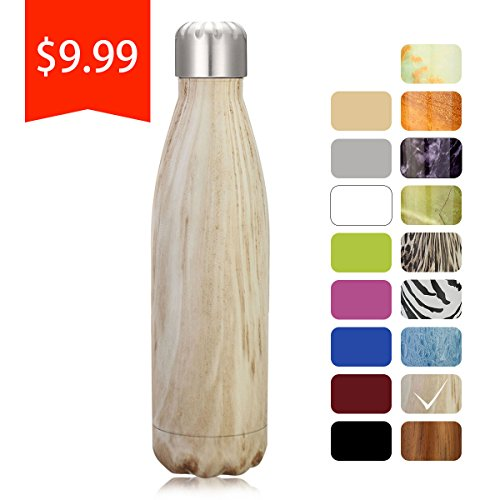 King Do Way Double Wall Vacuum Insulated Stainless Steel Sports Water Bottle, Light Yellow Wood, 17 Ounce