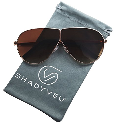ShadyVEU - Large Gold Frame Teardrop Aviator Colored Tint Flat Lens Sunglasses (Brown Lens, - Sunglasses Shipping Drop