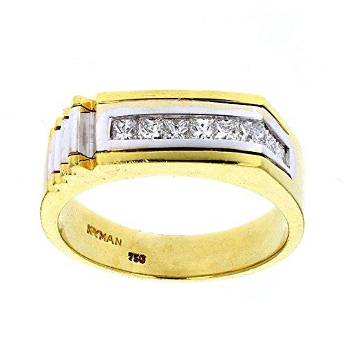 Diamond Ring, Mens Diamond Ring, 18Kt White & Yellow Gold Mens Diamond Ring, D-055Ct -