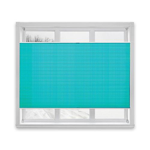 casa pura® Plissee Rollo | mit eleganter Crushed Optik | auch ohne Bohren anbringbar | lichtdurchlässig & blickdicht | petrolblau | 24 Größen (90x150cm)