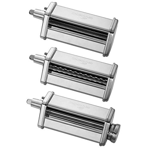3-Piece Pasta Roller/Cutter Set Attachment fits KitchenAid Stand Mixers,Stainless Steel,Mixer Accessory by Gvode (Renewed)