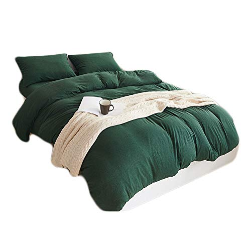 (HOUSEHOLD 100% Cotton Jersey Knit Duvet Cover Light Weight,Comfortable,Extremely Durable Includes 2 Pillowcase (Dark Green, Queen))