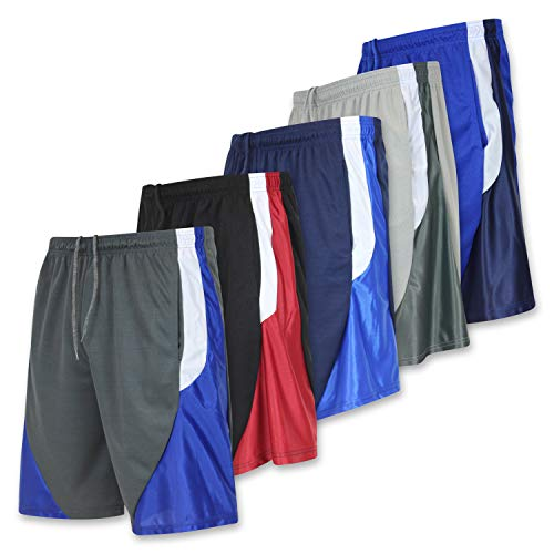 - Men's Active Athletic Basketball Essentials Gym Workout Shorts with Pockets - Set 3-5 Pack, L
