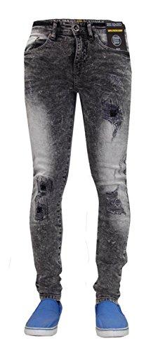 Acid nbsp;super Stretch Pantaloni Uomo Denim Black Jeans Ez361 amp; Rip Skinny Repair Enzo Fit fqBRwxO6B