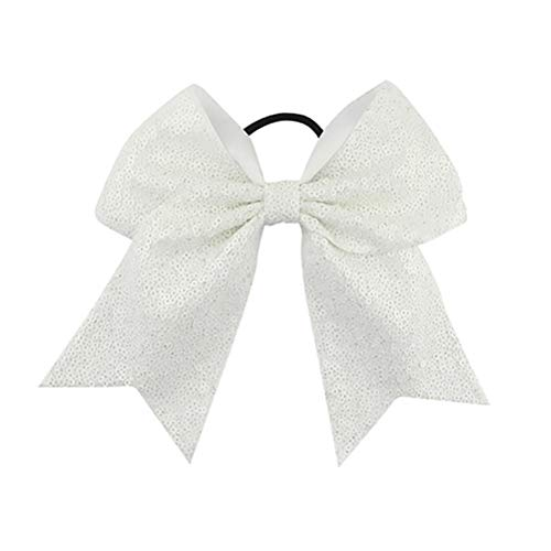Girls Cheer Bow Ponytail Holder Big Hair Bow Tie with Glitter Sequins Bowknot JB80 (09-White) ()