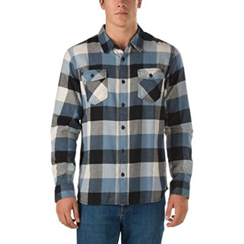 Box Flannel (Vans Men's Box Flannel Plaid Long Sleeve Shirt (Medium, Black/Blue Mirage/Oatmeal))