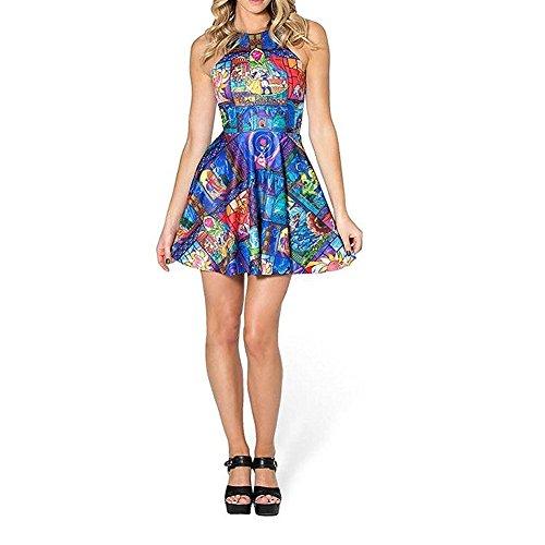 Disney Dresses For Women (Ensasa Women's Fashion Beauty & The Beasts Printed Sleeveless Skater Dress (Small))