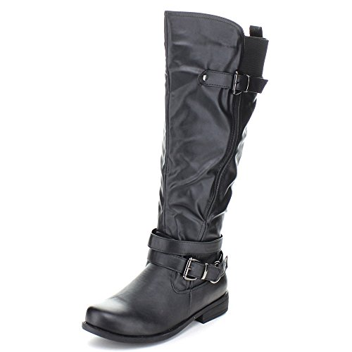Fashion Fokus Michael-7 Kvinners Elastisk Innsats På Toppen Spent Ridestøvler Svart