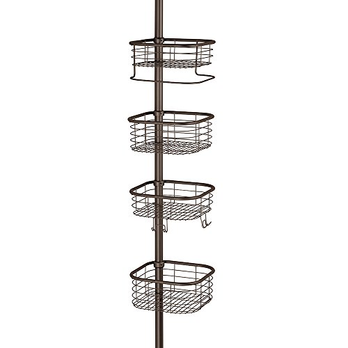 InterDesign Forma Constant Tension Shower Caddy – Square Bathroom Storage Shelves for Shampoo, Conditioner and Soap, Bronze by InterDesign