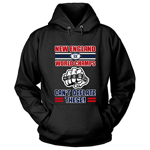 Los Angeles Rams, New England Patriots T Shirt, 5X World Champs Can't Deflate These T Shirt - Hoodie (M, Black) (New England Patriots Vs Denver Broncos 2014)