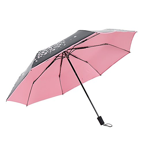 Extsud Automatic Open & Close Umbrella Compact Tri-Folding Travel Sun Umbrella, 50+ UV Protection Windproof with Cherry Blossom Print, 8 Ribs Perfect for Women/Kids/Holiday Gift/Outdoor/Traveling (50 Cherry Blossom)