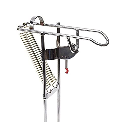 LeaningTech RHA-01 Stainless Fishing Rod Holder Rack, with Automatic Tip-Up Hook Setter, Double Spring, Adjustable Folding Holder, Silver - Acciaio Inossidabile Canna Da Pesca Titolare