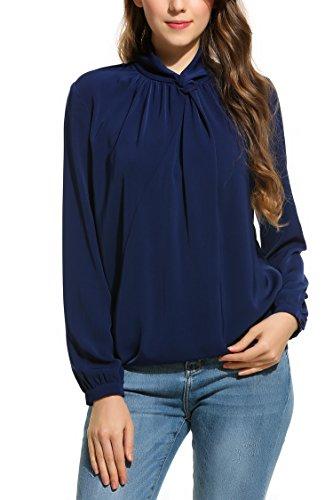Zeagoo Damen Elegant Chiffon Bluse Langarm Blusenshirt Business Bluse mit Rollkragen Shirt Oberteil Schwarz XL