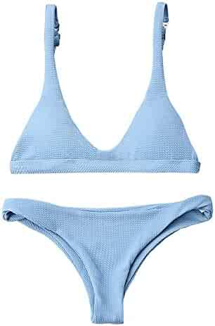 ad0ce540b34d0 ZAFUL Women Padded Scoop Neck 2 Pieces Push Up Swimsuit Revealing Thong  Bikinis V Bottom Style