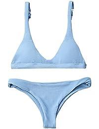747accaf222 Women Padded Scoop Neck 2 Pieces Push Up Swimsuit Revealing Thong Bikinis V  Bottom Style Brazilian