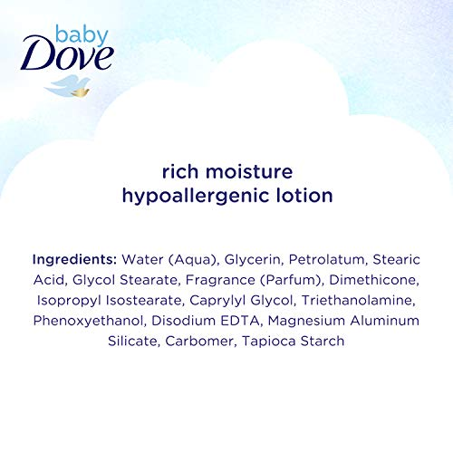 410d sNbG5L Baby Dove Sensitive Skin Care Body Lotion For Delicate Baby Skin Rich Moisture With 24-Hour Moisturizer, 20 fl oz (Package May Vary)    Bathing can lead to skin dryness. Baby Dove Rich Moisture Face and Body Lotion is made with 100percent skin-natural nutrients, which are nutrients identical to those naturally found in skin, and prebiotic moisture to help replenish the essential moisture and nutrients baby's sensitive skin can lose during bath time. From the very first use, this baby body lotion soothes and hydrates baby's dry skin to help it retain its natural moisture. Formulated with a 24-hour moisturizer, it is dermatologist and pediatrician tested so you can feel reassured that your baby's sensitive skin is getting the extra special care it deserves. Plus, the gentle, hypoallergenic and pH-neutral formula of our baby moisturizing lotion is suitable to use even on your newborn. Use Baby Dove Rich Moisture Hypoallergenic Body Lotion after bathing your baby with Baby Dove Rich Moisture Hypoallergenic Wash. Warm Baby Dove Rich Moisture Lotion in your hands, then apply to your baby's skin and massage to moisturize your little one's delicate skin while leaving it super soft. We know there's no right or wrong way to be a parent – only your way. That's why Baby Dove is here to help give you confidence that you're providing the best skin care for your baby's skin. Our Rich Moisture Lotion is sold in 6.5 fl oz., 13 fl oz., and 20 fl oz. bottles. Looking for a baby lotion for extra sensitive skin or eczema prone skin. Try our Baby Dove Fragrance Free Moisture Hypoallergenic Baby Lotion, available in 13 fl oz. and 20 fl oz. bottles