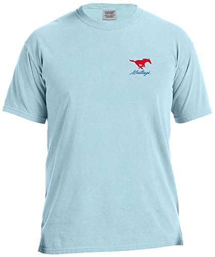 Mustang Adult T-shirt - NCAA SMU Mustangs Adult NCAA Marquee Comfort Color Short sleeve T-Shirt,XXL,Chambray