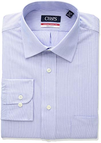 Chaps Mens Dress Shirts Regular Fit Stripe Spread Collar