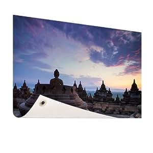 Lieblingsfoto.de Borobudur al amanecer–Foto en jardín Póster–200x 100cm (formatos disponibles: 60x 40, 120x 80, 200x 100) Top de calidad Jardín Banner.