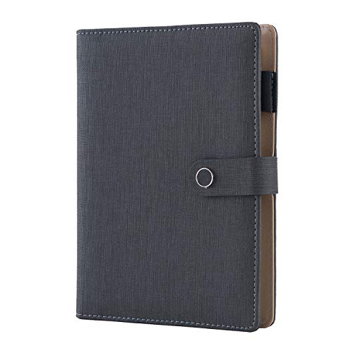 Spiral Leather Journal Writing Notebook, 6 Ring Binder Refillable Diary Notepads, Vintage Business Planner Personal Organizer, Agenda for Men Women(A5 Size)