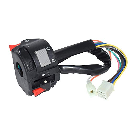 Easy to Install 22mm Motorcycle ATV Handlebar Control Switches Headlight Fog Lamp Light Turn Signal Horn Switch Button with 11Wiring Harness Durable ( Color : Black ) ()