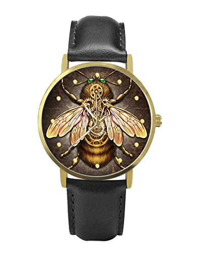 Personalized Graphic Photo Image Custom Watch Casual Black Leather Strap Wrist Unisex Watches for Men Women,TIME Scale Bulge Handmade Watch (Steampunk bee)