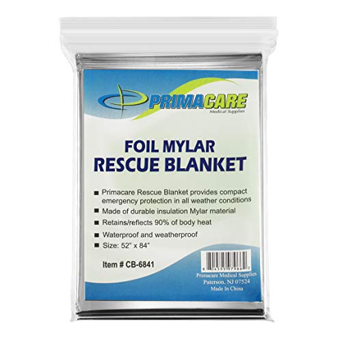 Primacare HB-10 Emergency Foil Mylar Thermal Blanket (Pack of 10), 52″ Length x 84″ Width