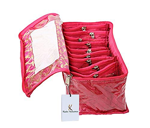 Kuber Industries Cotton Jewellery Box, Pink (10 Pouch)