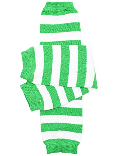 juDanzy baby girls and toddler Green & White Stripe leg warmers Green & White One Size 12 inches ()