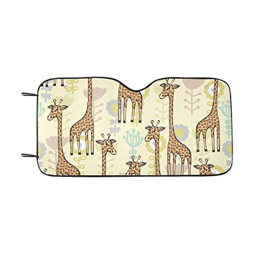 Giraffe Pastel - INTERESTPRINT Cute Babies Doodle Giraffe Pastel Windshield Sunshades, Car Sun Shade Block Sun UV and Heat, Universal Fit