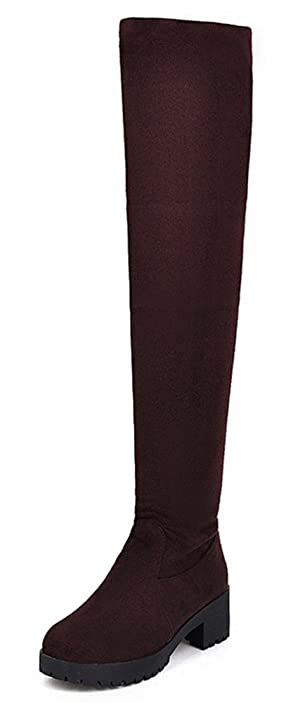 IDIFU Women's Stretchy Platform Mid Chunky Heels Over The Knee Boots Thigh Booties Brown 4.5 B(M) US