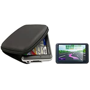 BLACK Color - Hard Shell Nylon Carrying Case + Screen Protector - for Garmin Nuvi 4.3-Inch Vehicle GPS Navigator 710 750 760 770 780 850 880 785T 775T 765T 755T (Garmin GPS Not Included)