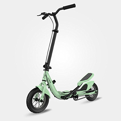 TARCLE Pedal Scooter, 10 Inch Air Wheel Fold Scooter, Pedaling Stepper Scooter, Fitness Scooter (green)