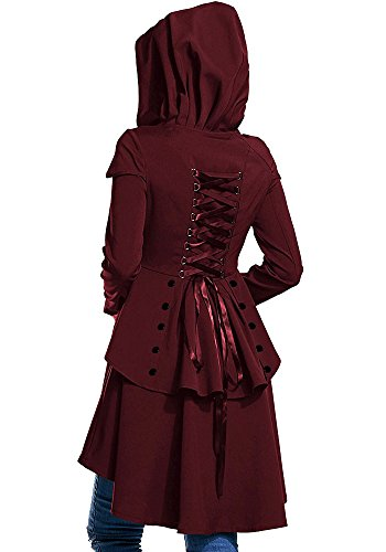 City Red Queen Party Costume (Beautife Women Medieval Coat Dress Vintage Cosplay Retro Hoodies Halloween)