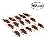 LUOEM 100pcs Fake Roach Prank Novelty Cockroach Bugs Look Real Plastic Cockroach Bugs for Halloween Party