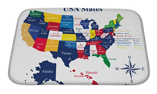 Gear New Memory Foam Bath Rug, USA Map With States And Capital Cities, 24x17, - Tiles City Carpet Kansas