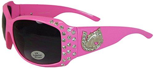 Bling Sunglasses with Horseshoe Oversize UV400 Polycarbonate Lens - Sunglasses Horse