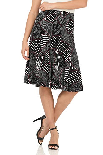Rekucci Women's Ease into Comfort Flared Knee Length Knit Skirt (Medium,Black/White Dot Patchwork)