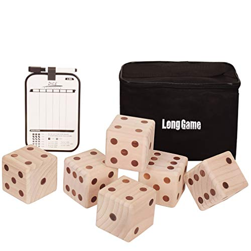 3.5 Inch Game - Outdoor Giant Yard Dice Games Set for Kids and Adults with Double Sided Scoreboard and Carrying Bag Lawn and Family Backyard Large 6 Dices (3.5