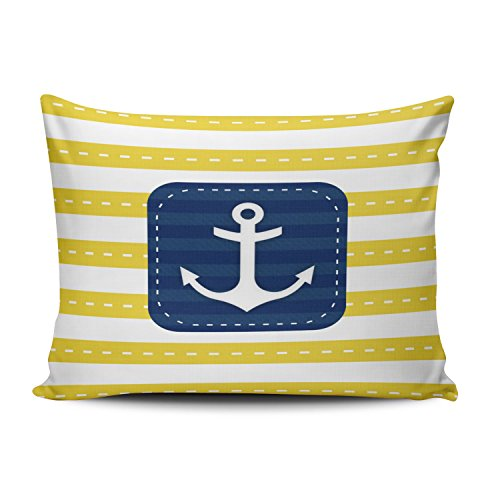 Boitty Pillow Case Nautical Yellow Stripes Navy Blue Banner Anchor Pillowcases Personalized Decorative Funny Throw Pillow Covers Cases Rectangular Boudoir 12x20 Inches One Side