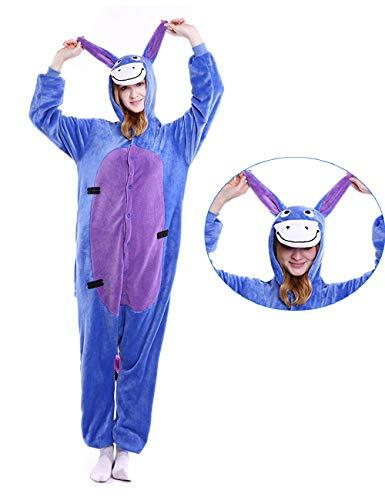 Adult Unisex Animal Eeyore Onesie Cosplay Costume One Piece Pajamas for Women Men Blue