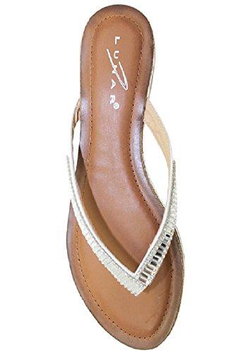 Sapphire TIENDA jlh812 Starla de Mujer Cómodo Diamante Baja Tira Para Dedo MODA Chanclas Blanco