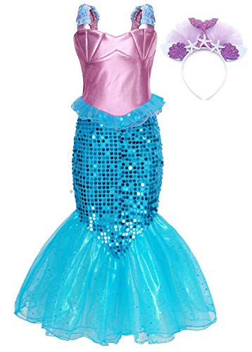 AmzBarley Mermaid Costumes for Girls Halloween Cosplay Fancy Dress Up Ariel Princess Sequins Dresses Kids Holiday Party Role Play Clothes Birthday Outfit with Headband Size 10(8-9Years) -