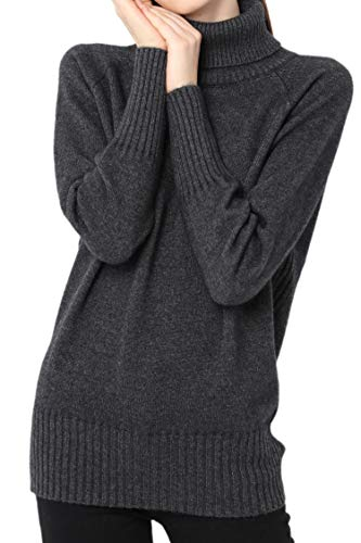 (Ailaile Cashmere Sweater Women Winter Turtleneck Thick Loose Oversize Pullover Female (M/US Size 8-10, Dark)