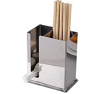 304 Acero inoxidable para colgar utensilios de malla 2 compartimentos  palillos cuchara tenedor cuchillo rack de secado escurridor cesta cubiertos  escurridor ... 708feb99c20d