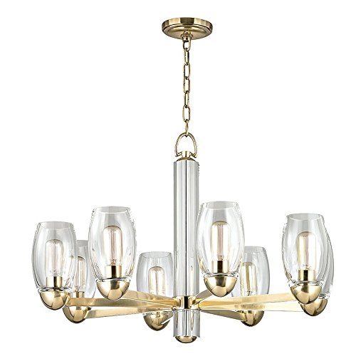 Pamelia 8-Light Chandelier - Aged Brass Finish with Clear Glass Shade - Chandelier Glass Blown Eight Light